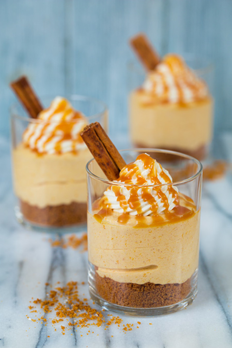 Spice up your traditional pumpkin pie dessert. Make these no-bake pumpkin cheesecakes.