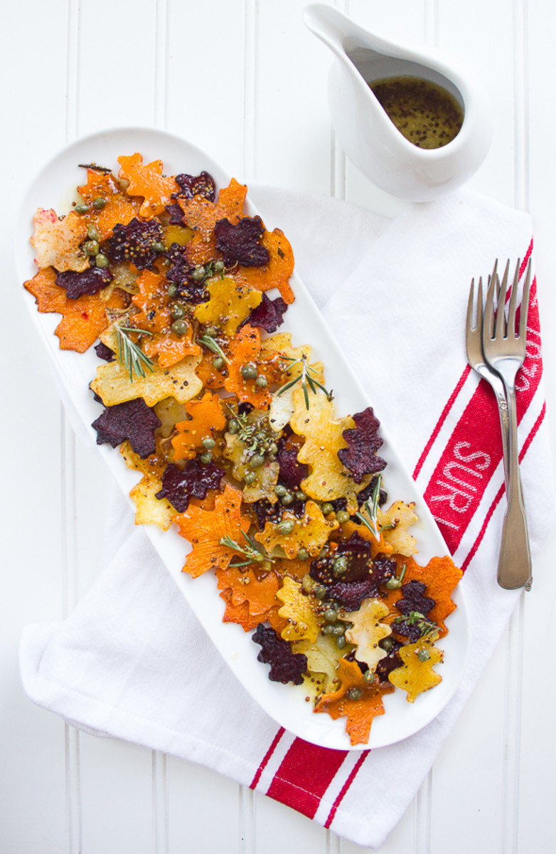 Colorful, leaf-shaped veggies make for a festive Thanksgiving side!