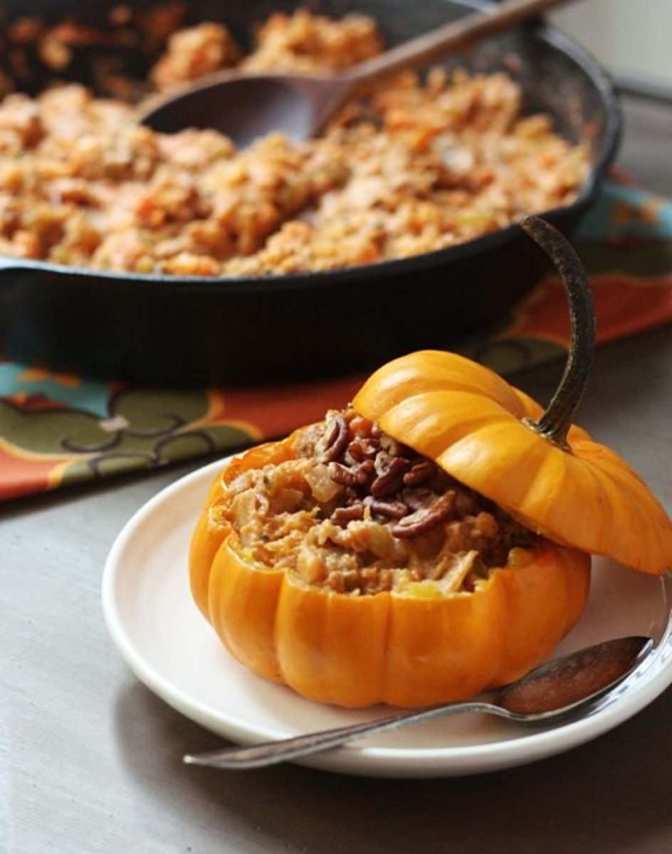 Vegetable stew in mini pumpkins will make for a delicious vegetarian Thanksgiving main course option.