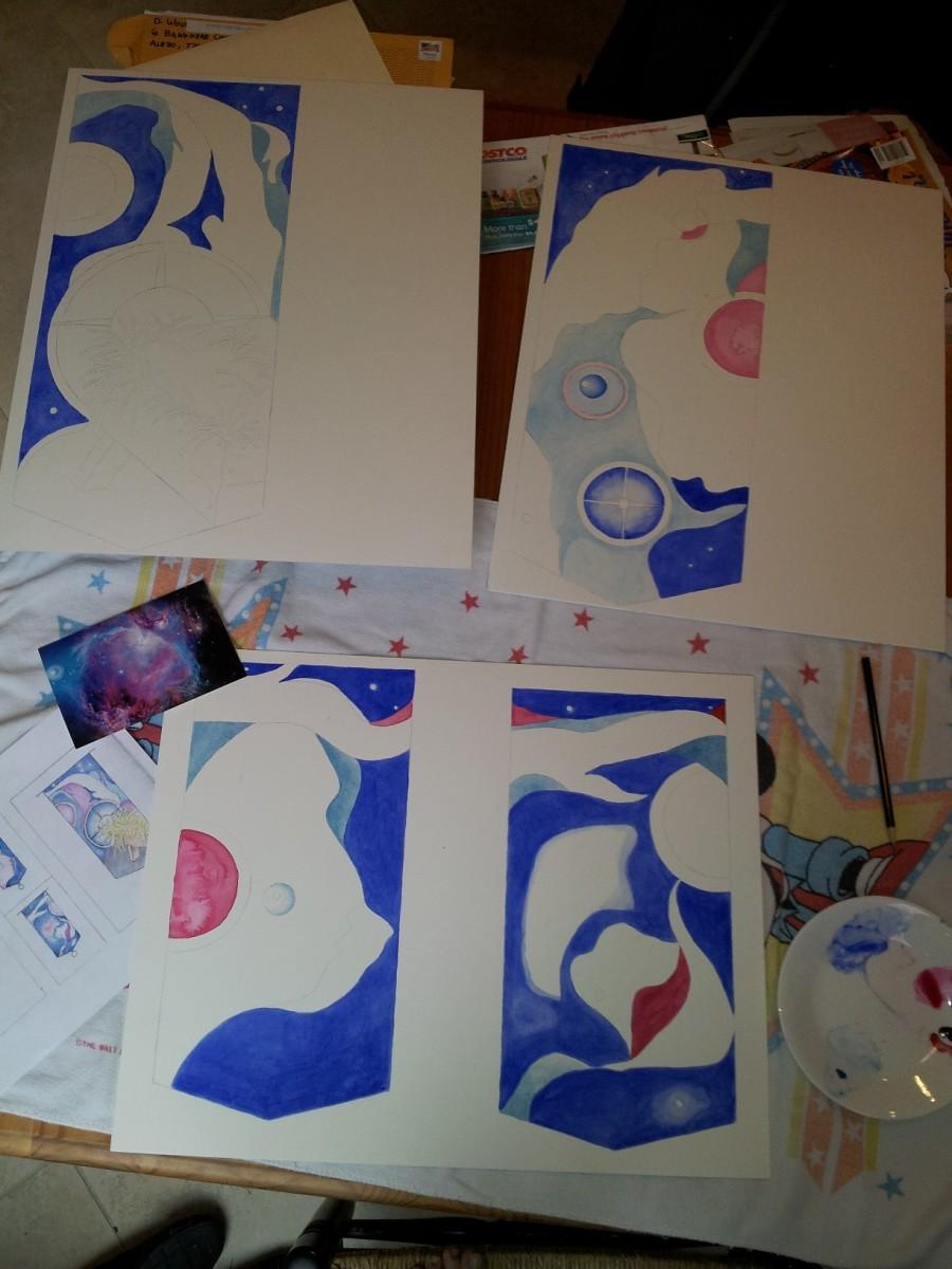 The watercolors in progress