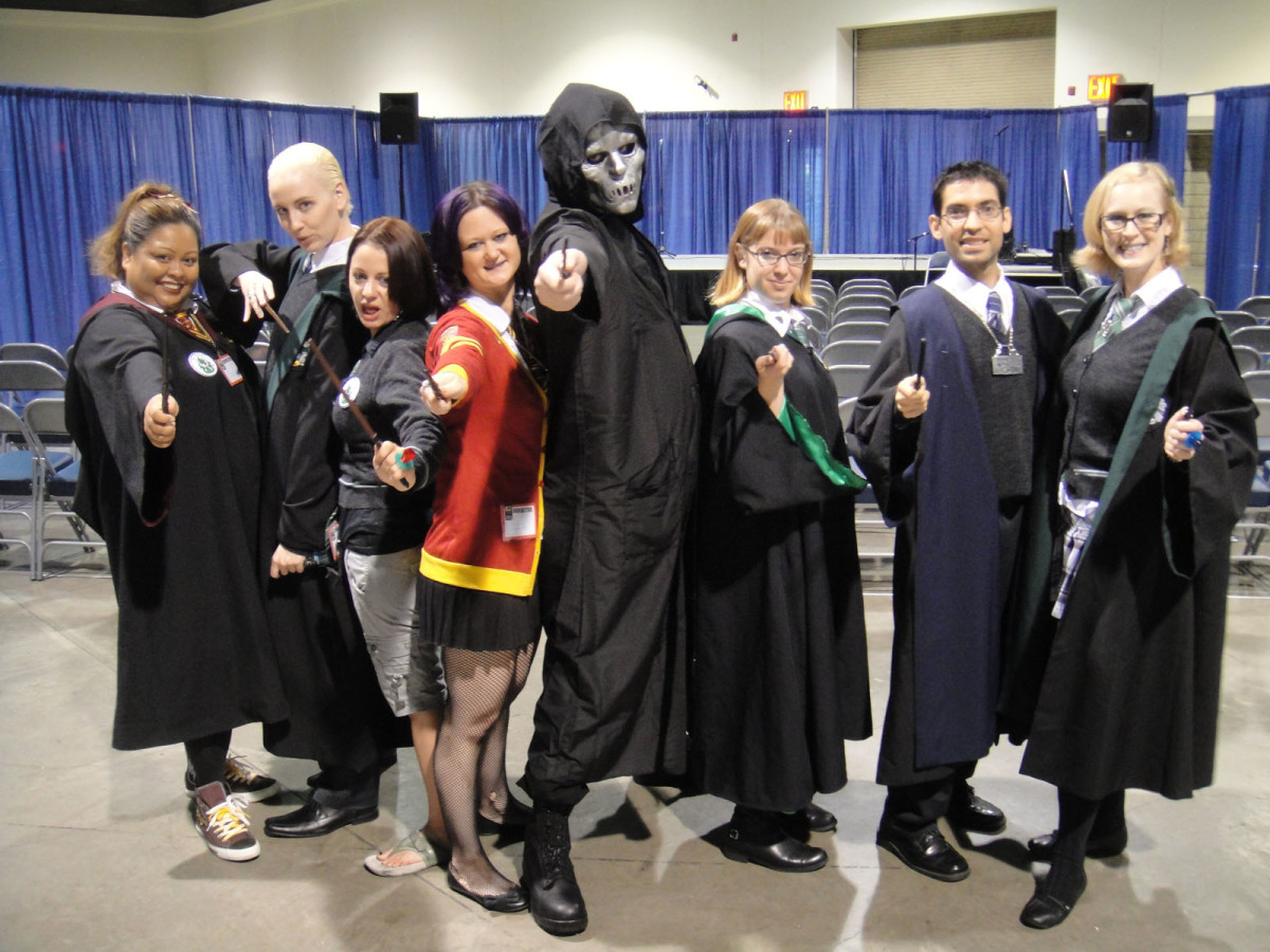 Here's a group dressed as students from different houses—and even a Death Eater!