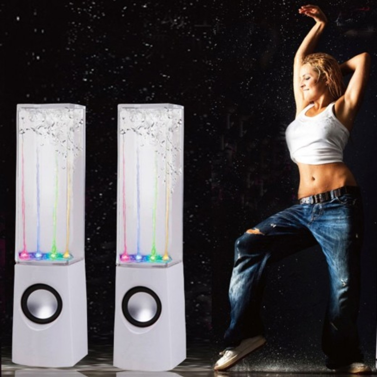 Water Fountain Speakers Dancing LED Lights.  These look and sound awesome (take my word for it) and they can be used anywhere that there is access to power and a USB connection, including a living room, bedroom, kitchen or wherever.