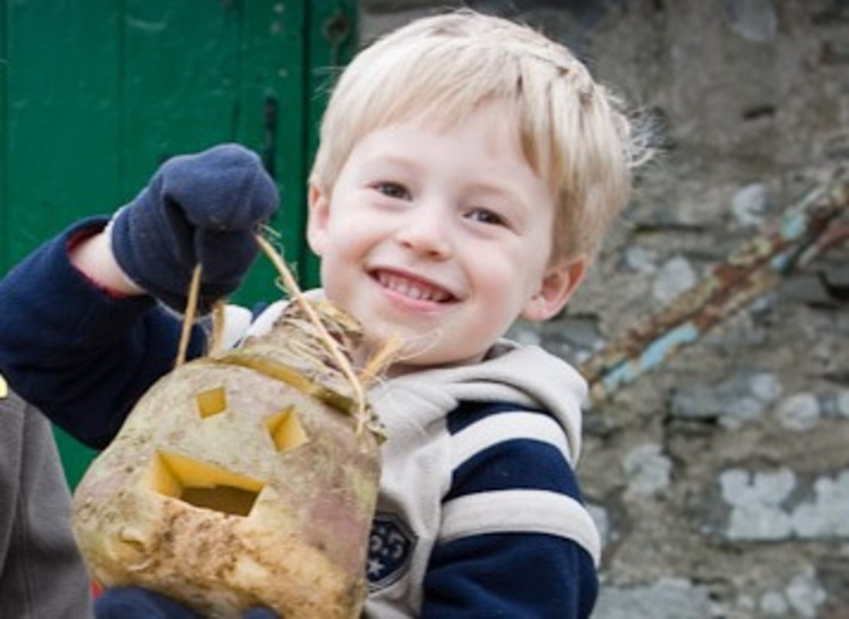 A Manx boy and his turnip lantern for Hop-tu-Naa