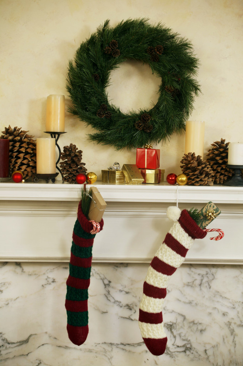 If you aren't putting up a Christmas tree this year, a  large wreath hanging over your mantel can serve as a fragrant stand-in for a live tree.