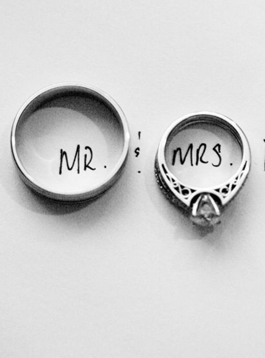 """Mr. and Mrs."" wedding rings"