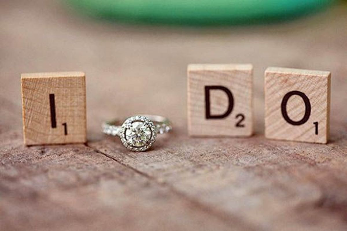 Diamond ring with Scrabble letters