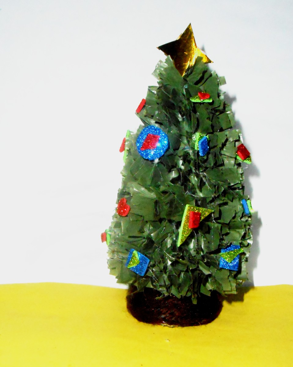 Pic #2: Mini Christmas tree decorated with glittered foam paper.