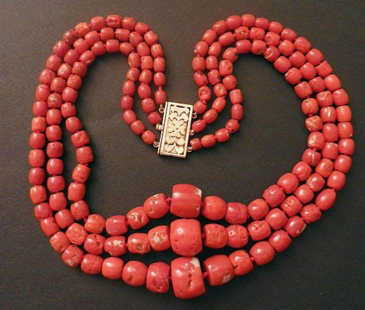 Coral beads.