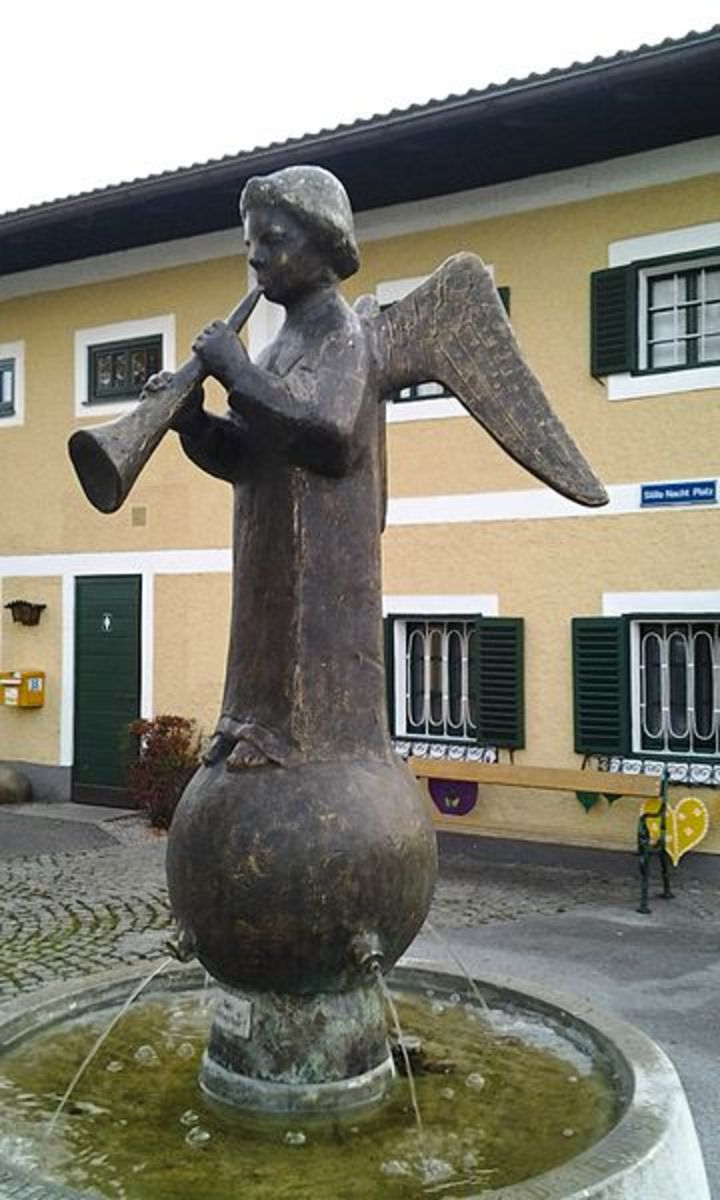 The Stille Nacht fountain in Arnsdorf, Austria erected in 1963 to commemorate the centenary of Franz Gruber's death