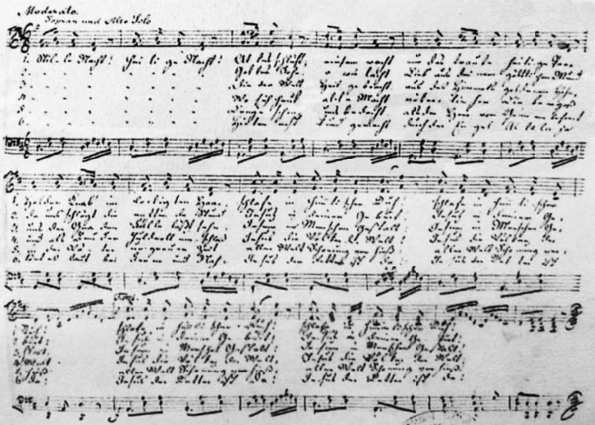 Franz Gruber's original musical score for Silent Night. A clear version of the score can be seen at http://silentnight.web.za/notation/stille1.gif