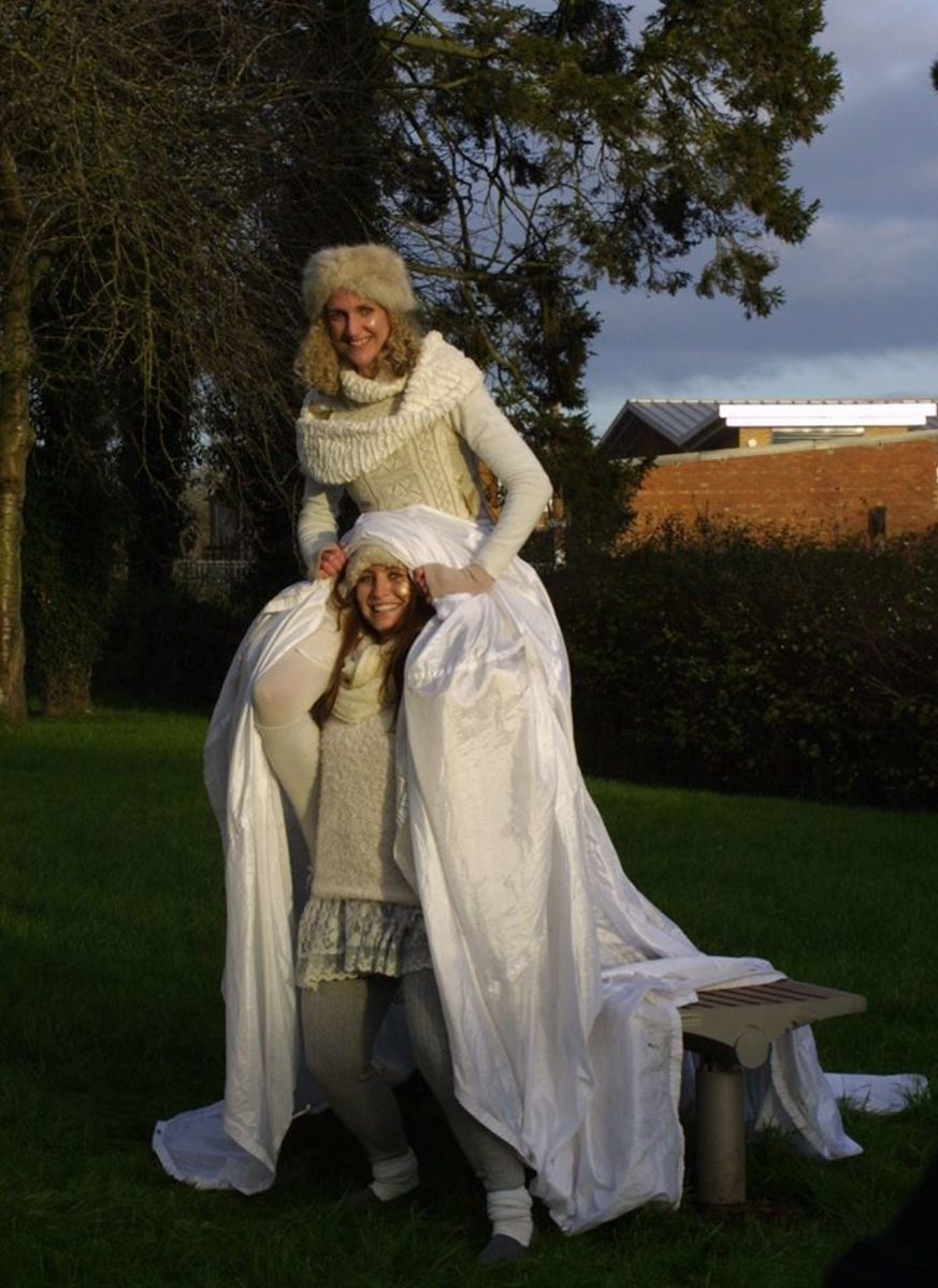 Performers from a play at the Tenbury Mistletoe Festival 2014, who gave a retelling of the story of the death of Baldur, the Norse god, slain by mistletoe and trickery.