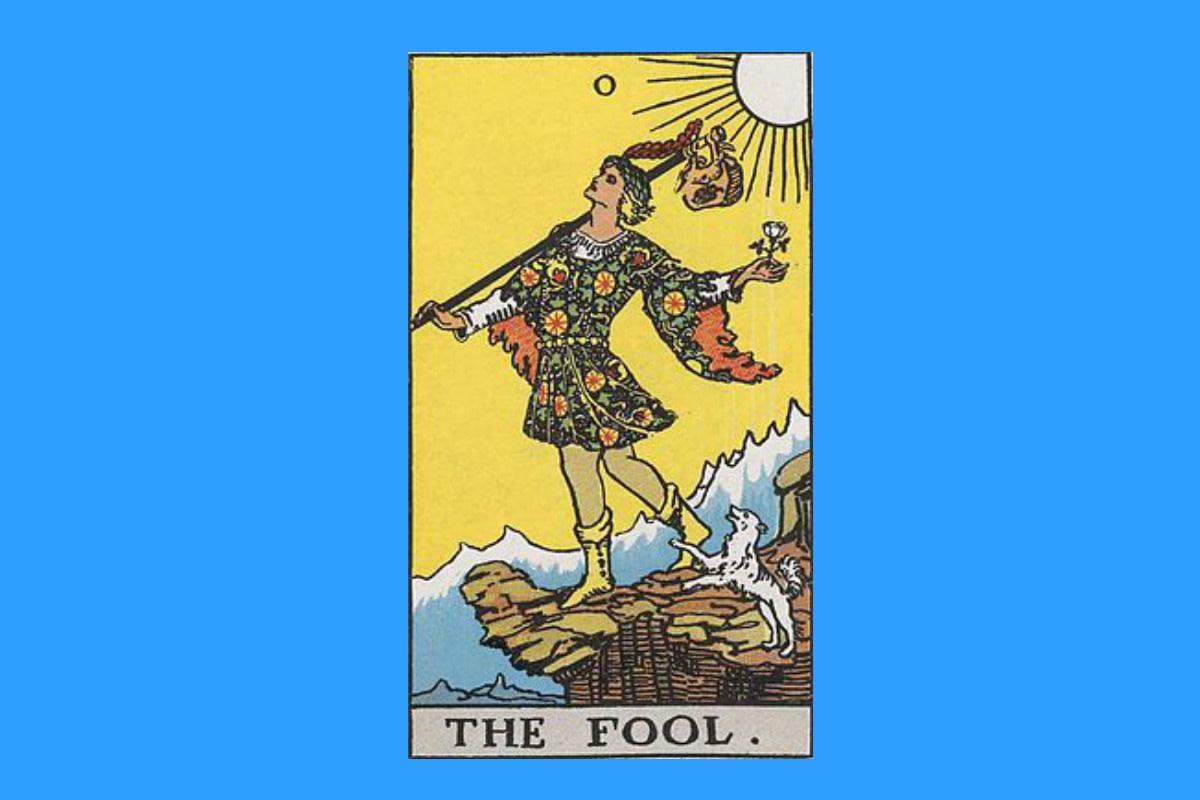 """The Fool"" from the Rider-Waite-Smith deck of Tarot cards."