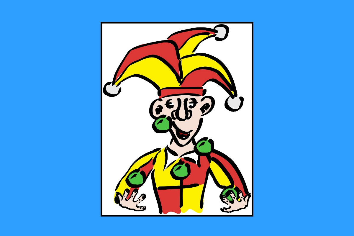 A court jester typically wore a motley (harlequin) costume.