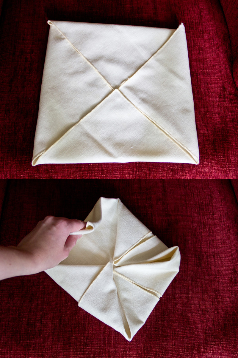 Steps 1 and 2 of the waterlily fold.