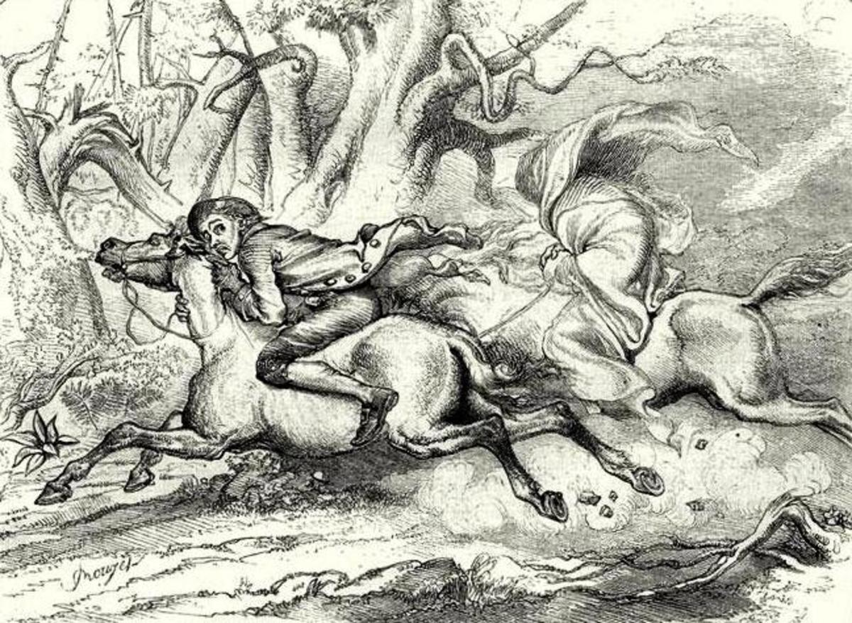 "Drawing showing ""The Legend of Sleepy Hollow"" by Washington Irving."