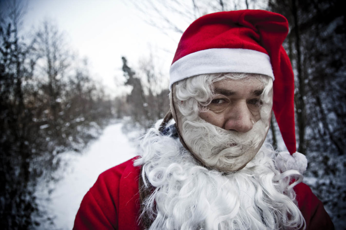 Is this Santa mad because he's been denied entry?  Did he get stuck in a chimney?  What's his problem?