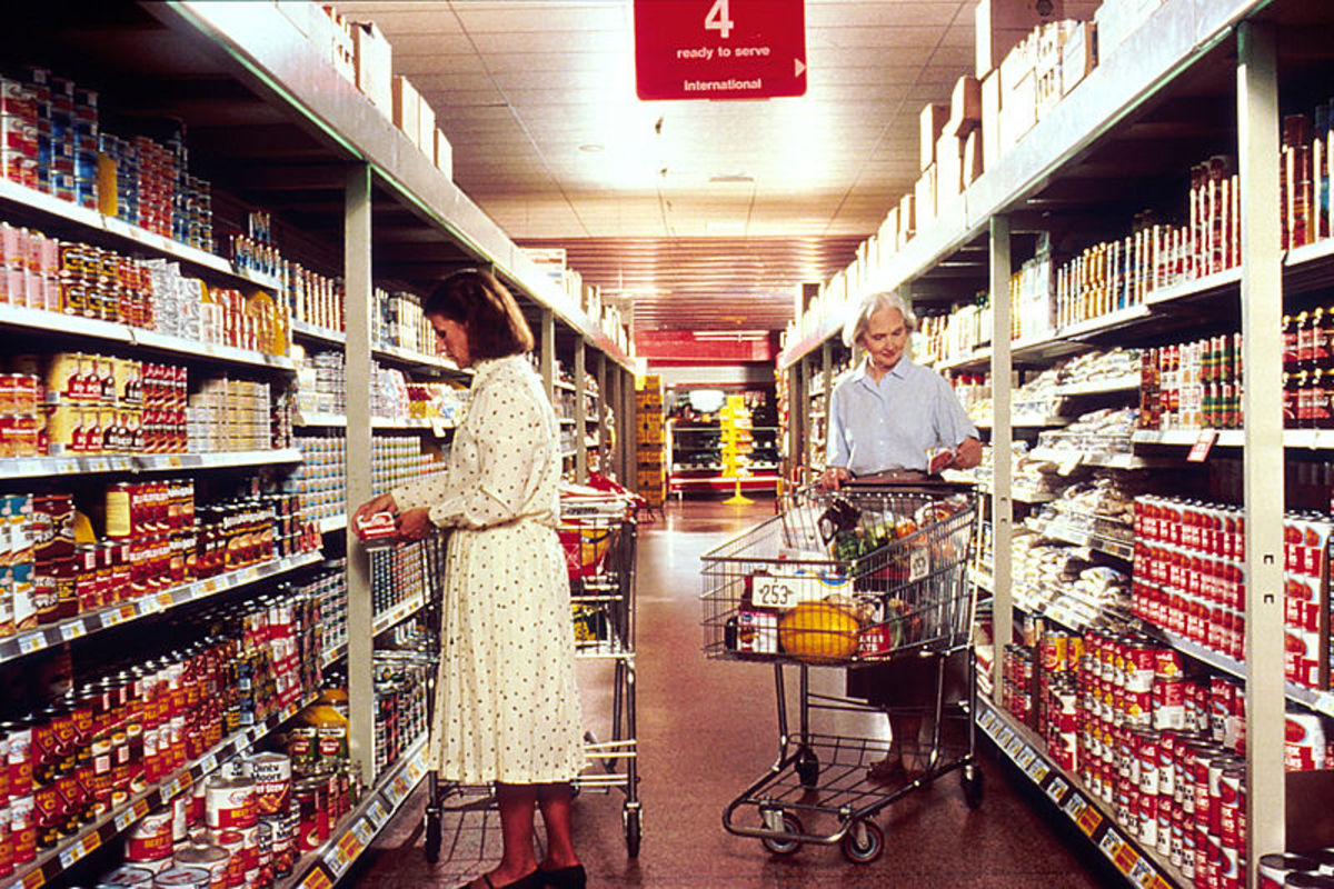 Women grocery shopping