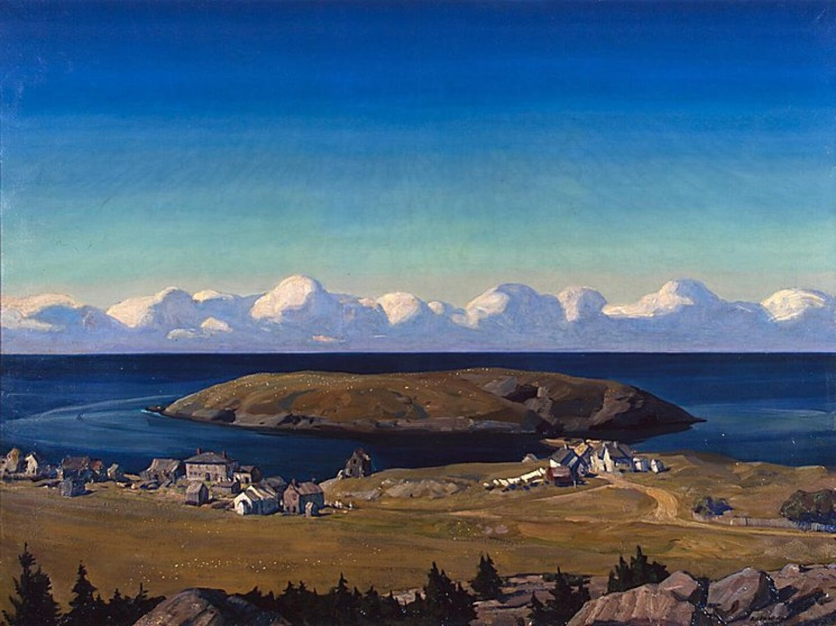Monhegan is a rocky island with a small, natural harbor, located off the coast of Maine. painting by Rockwell kent
