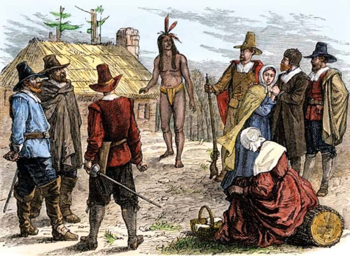 The first encounter between Samoset and the Pilgrims, as pictured by a modern illustrator.
