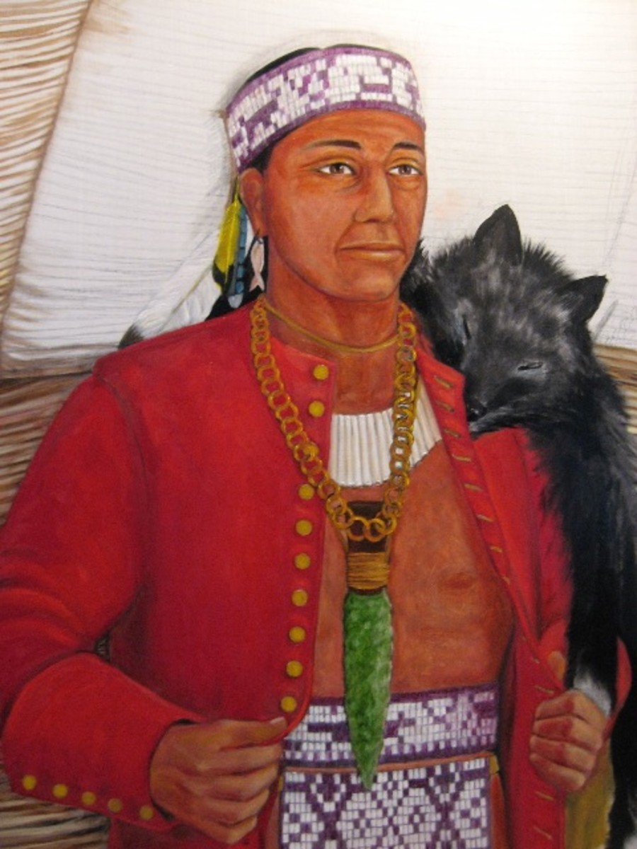Massasoit wearing the red horseman's coat that he was given as a gift in the spring of 1621 by Edward Winslow and Stephen Hopkins on behalf of the Plymouth colonists—painting courtesy of Ruth DeWilde-Major