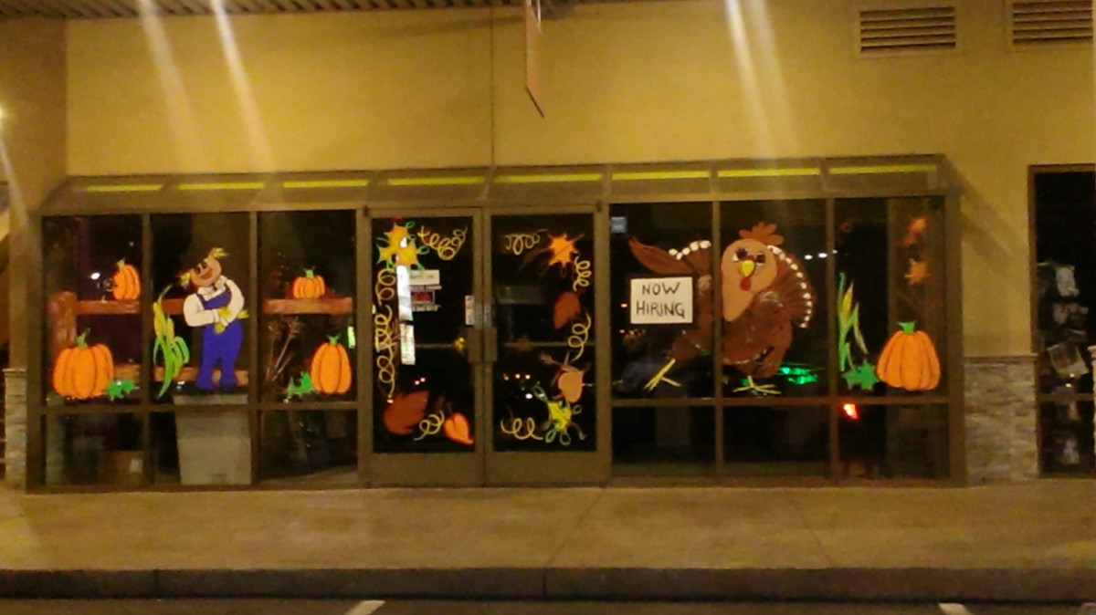 The entire Fall theme window painting