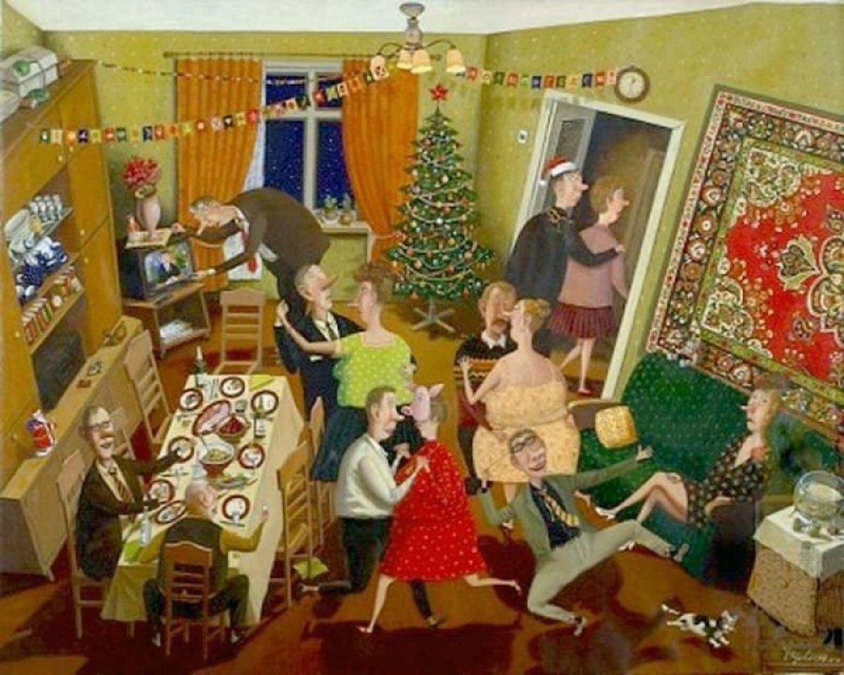 Comical depiction of the Russian New Year party.