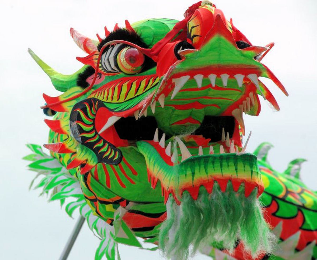 Chinese dragon in photo from celebration in Helsinki, 2000.