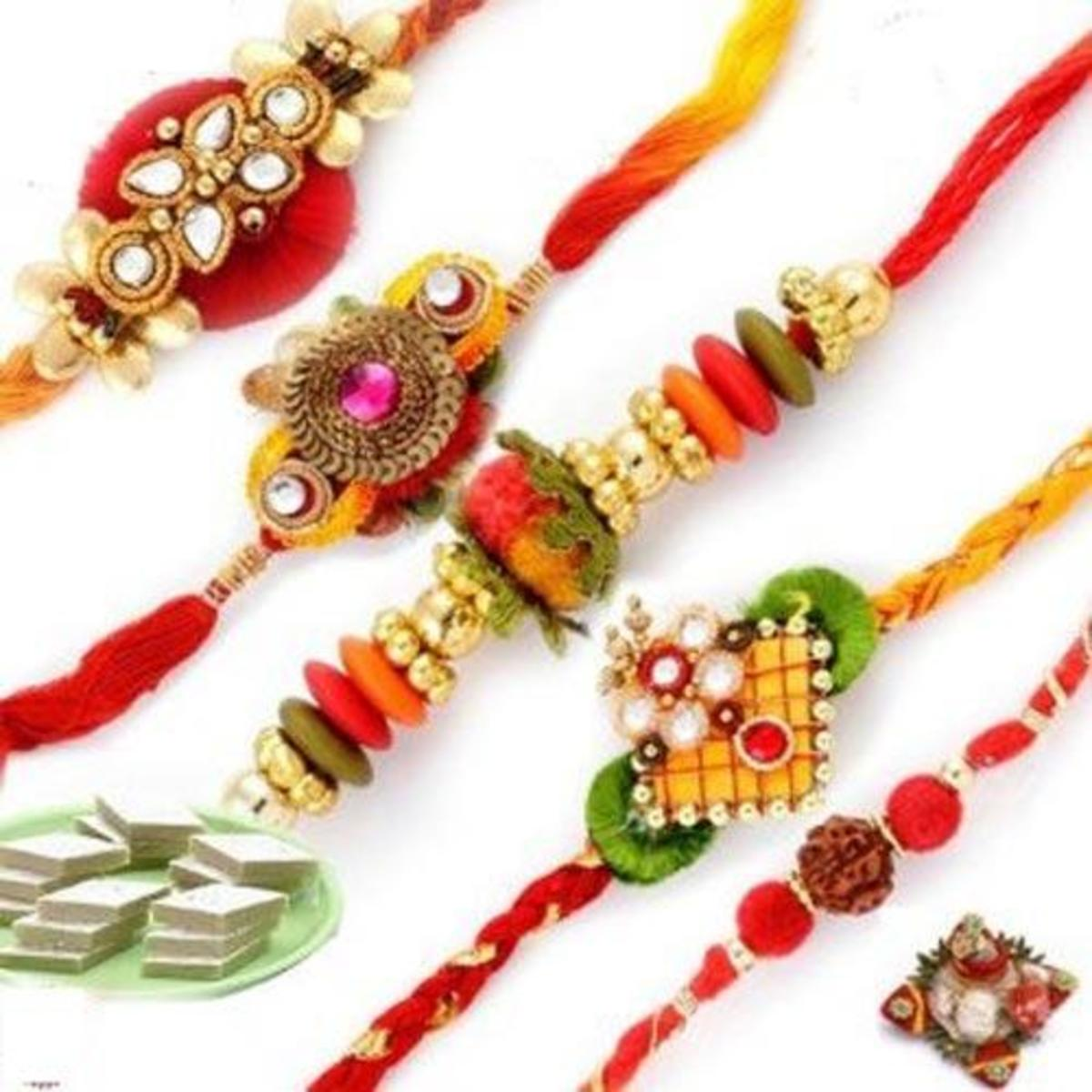 Different types of rakhis.