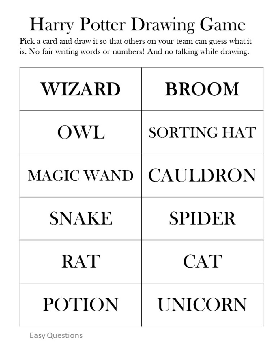Harry Potter Drawing Game - Easy Level.  See the link at the end of the article to print a pdf version.