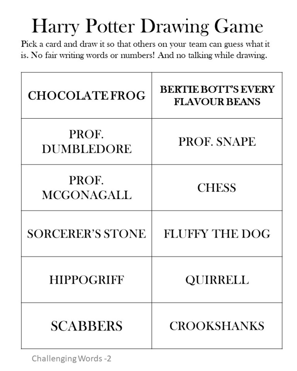 Harry Potter Drawing Game -Challenging Level #2.  See the link at the end of the article to print a pdf version.
