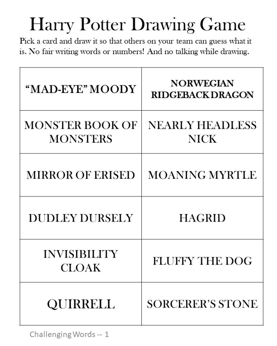 Harry Potter Drawing Game - Challenging Level #1.  See the link at the end of the article to print a pdf version.