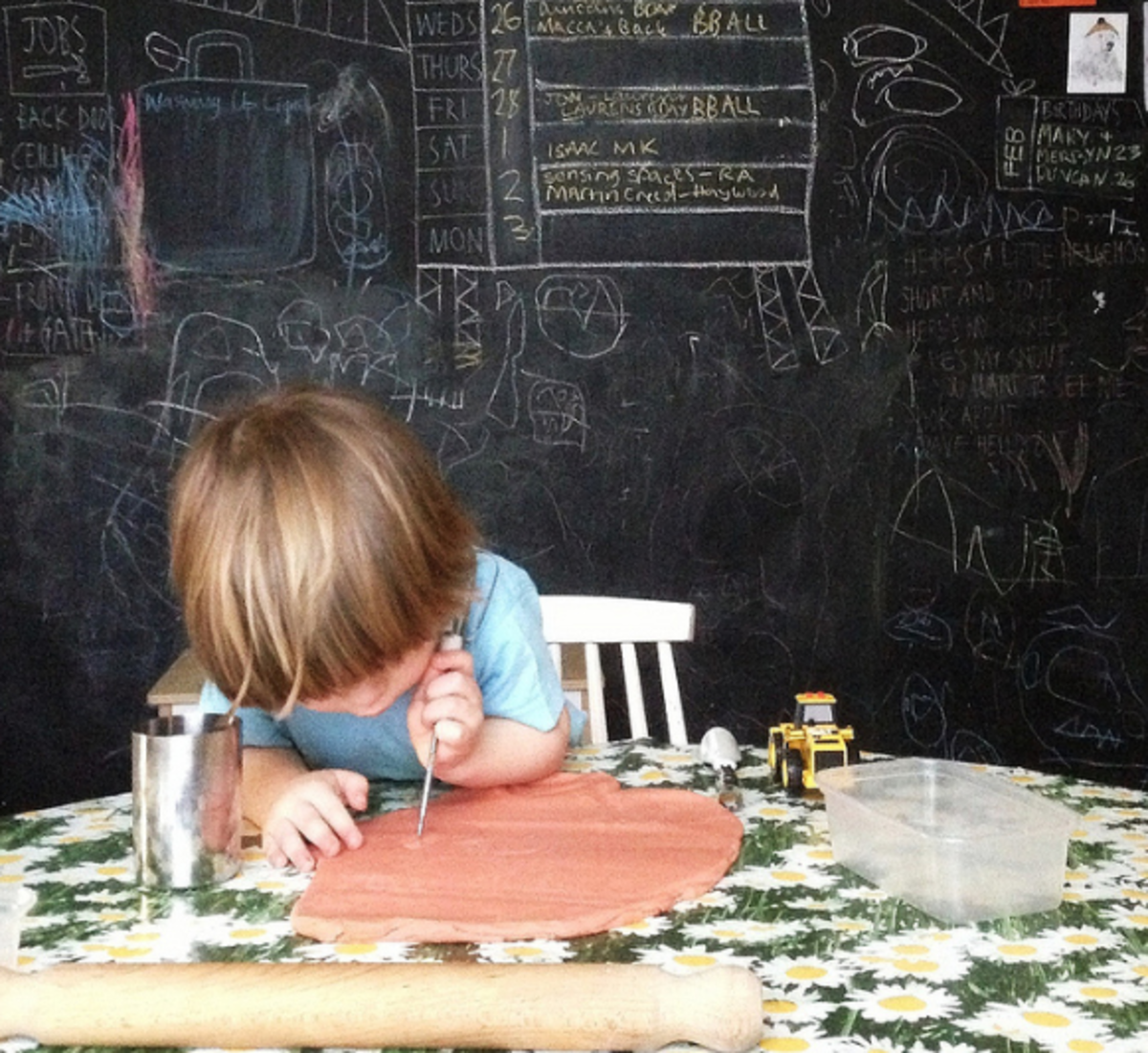 Working with play-dough builds strong fingers and hands and enhances fine motor skills.