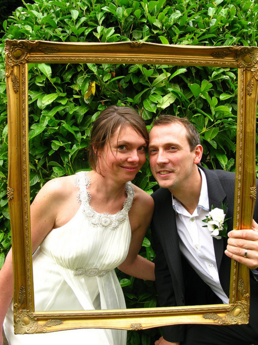 Create a cute photo booth for fun wedding photos of you and your guests.