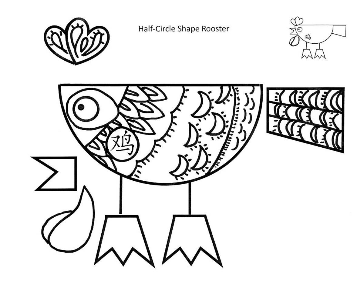 Half-circle rooster to print, color, cut and glue -- feathers and crescents -- Printable Kid Crafts for Year of the Rooster
