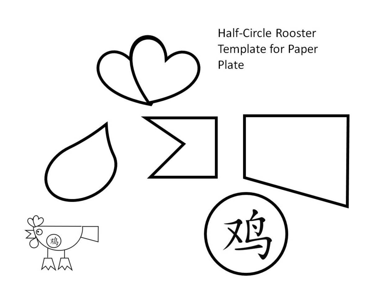 Paper plate template for rooster