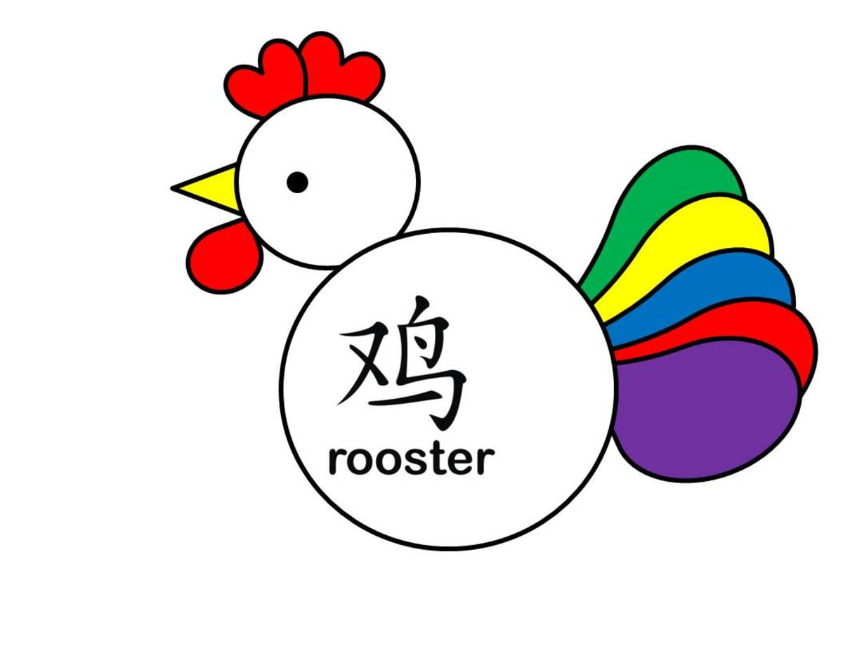 Color rooster using common shapes.