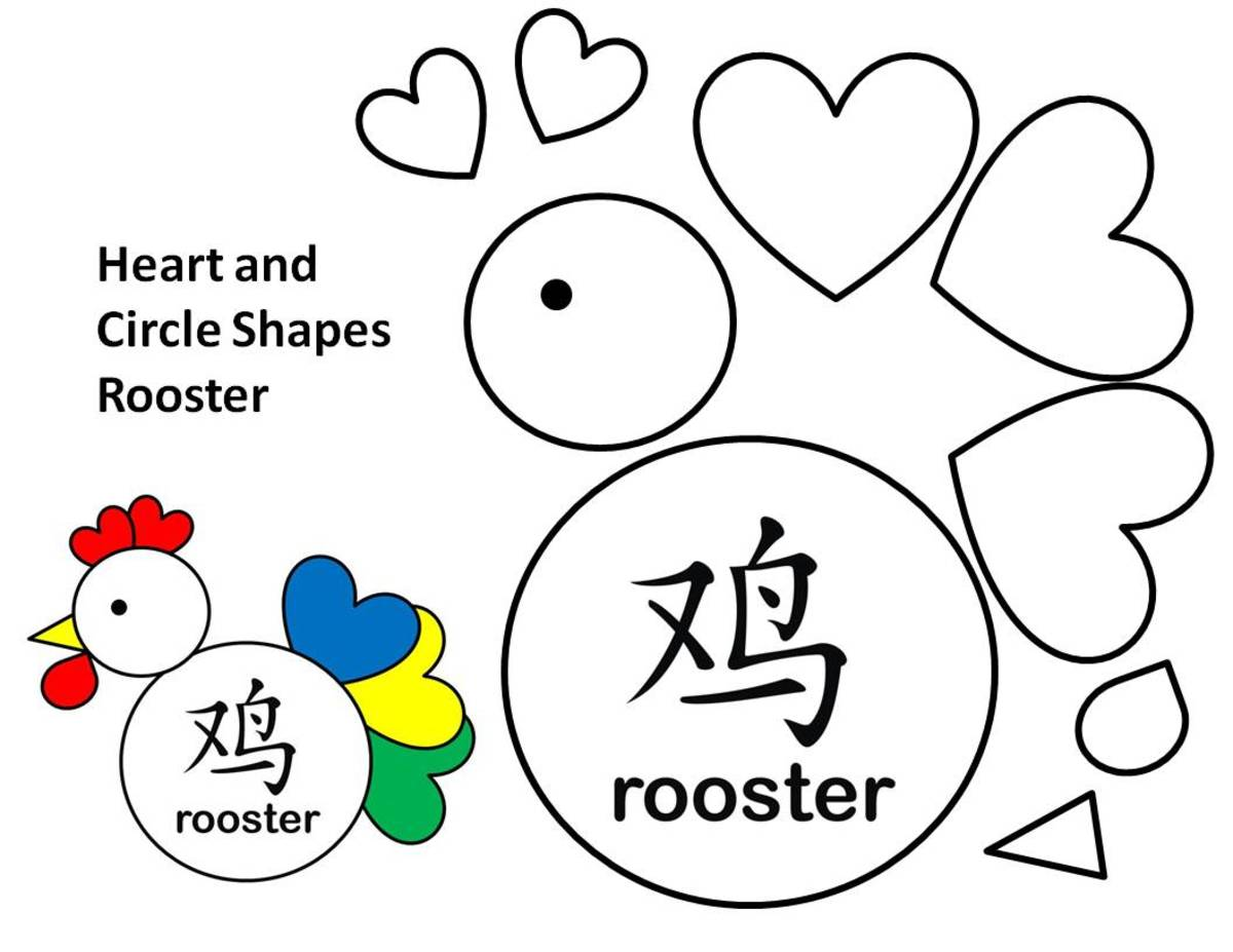 Shapes rooster with hearts template.