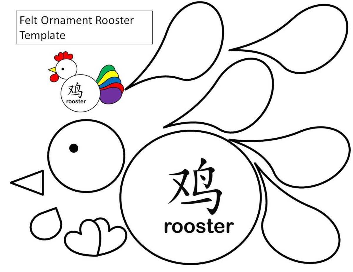 Shape rooster template to use for cutting out individual tail feathers from paper or felt