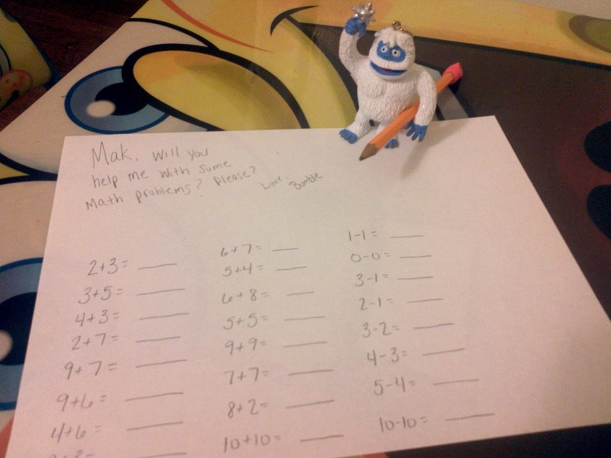 Bumble asking for help with his math problems.