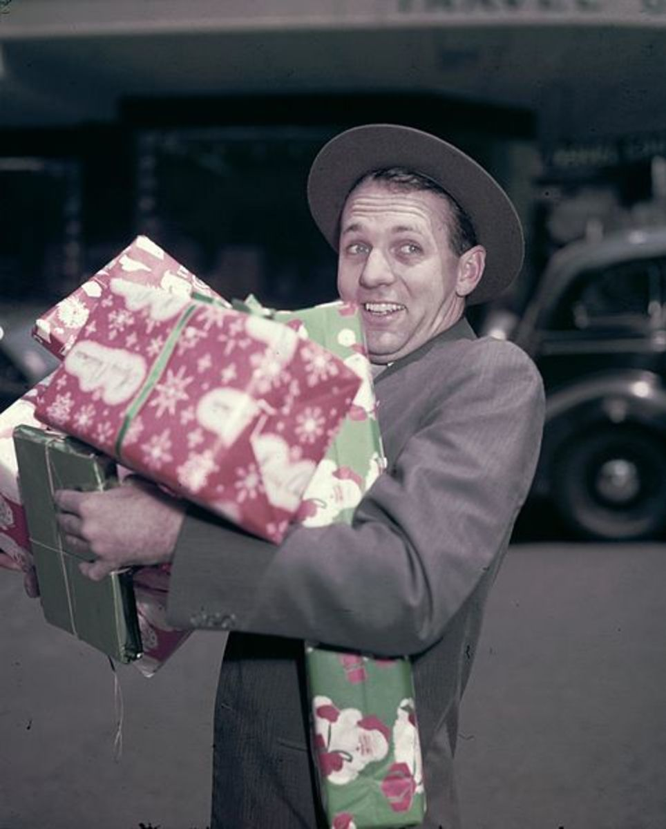 """Man with Christmas Presents"" by Jack Hickson"