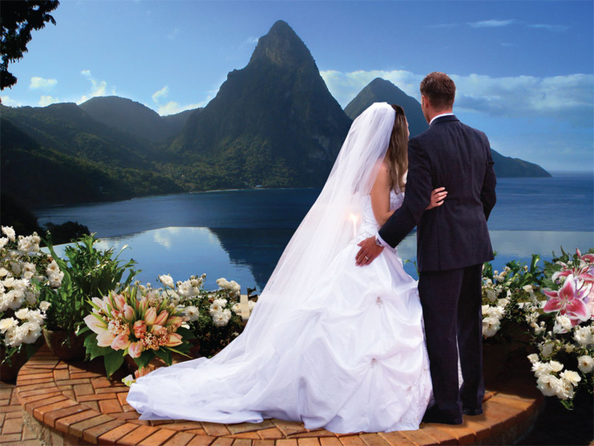 The Pitons at the background is a favorite spot for wedding photos in St. Lucia...