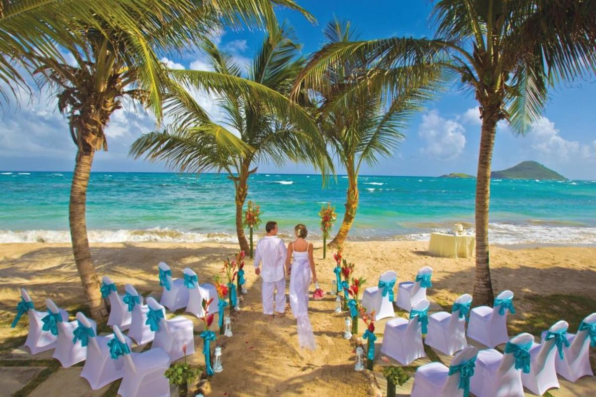 St. Lucia's white beaches are very popular wedding venues...