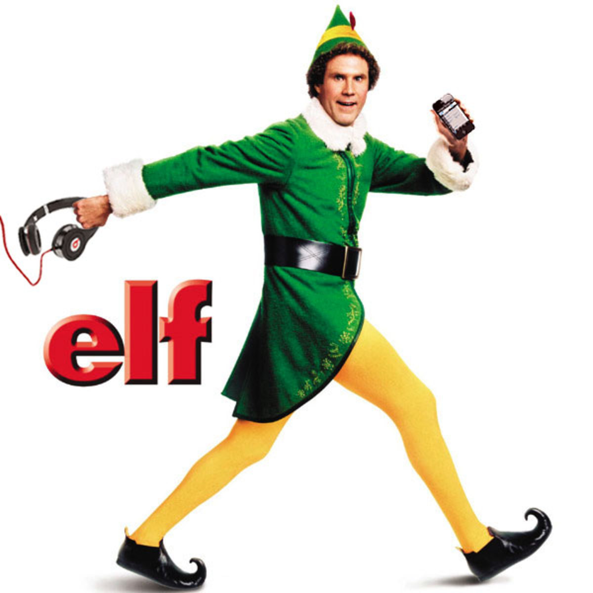 Buddy the Elf from my favorite Christmas movie - Buddy is wearing a green jacket, matching hat, yellow tights, black shoes and that big black belt.