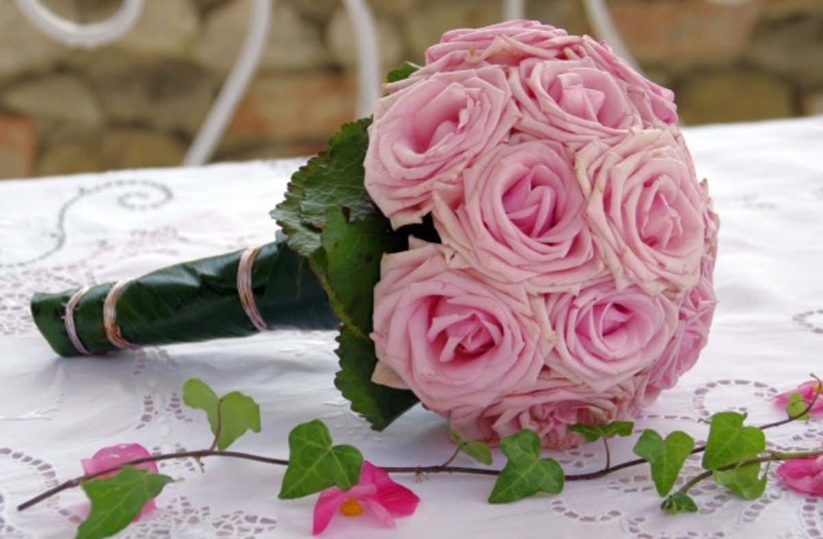 Wedding bouquet with pink flowers.