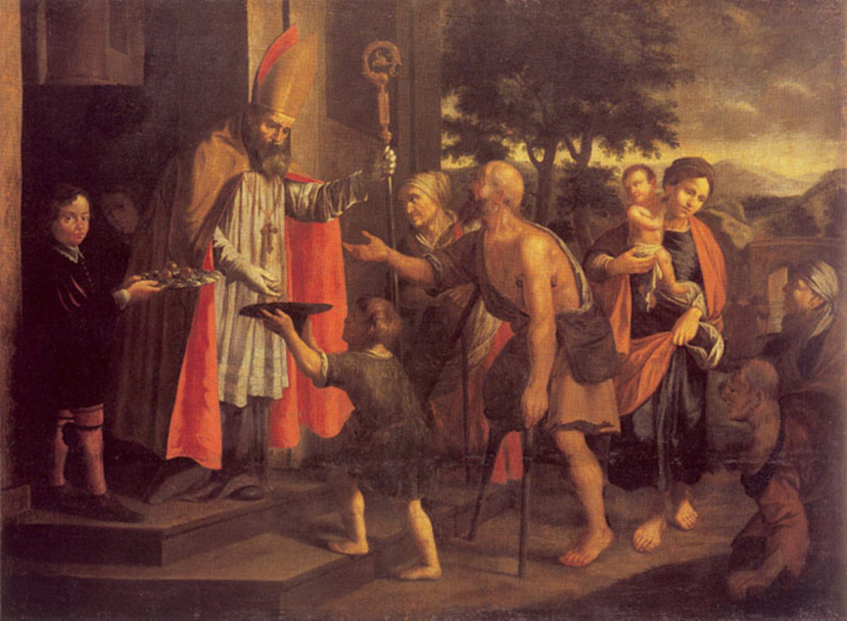 A painting of St Nicholas giving to the poor