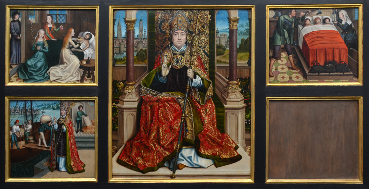 A 16th century altarpiece with illustrations of the some of the miracles St Nicholas is said to have performed in the side panels. The top left depicts the three daughters St Nicholas is said to have provided a dowry for.