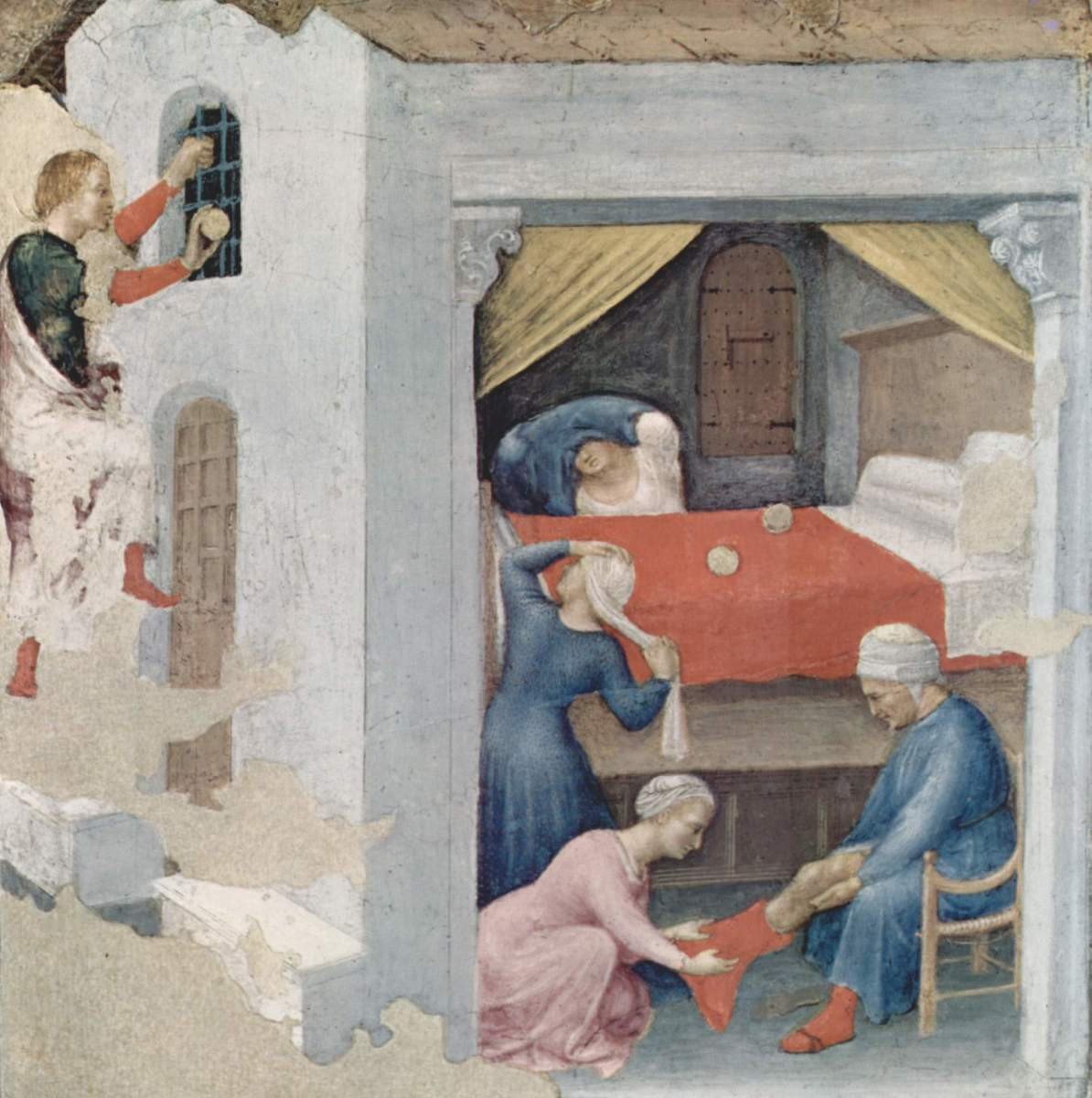 A fifteenth century depiction of St Nicholas surreptiously providing a dowry to one of the three daughters.
