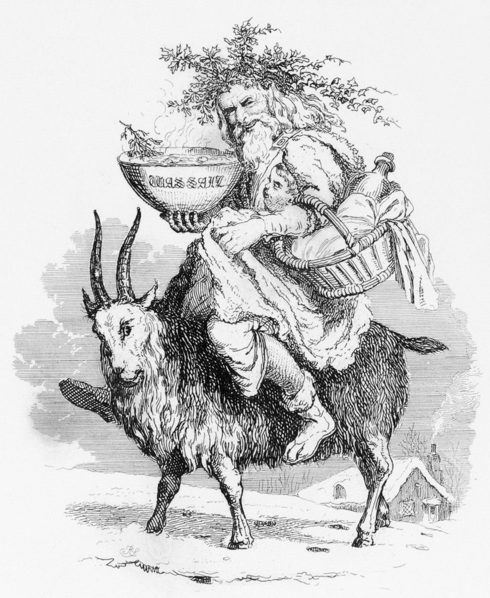 Old Father Christmas riding a goat