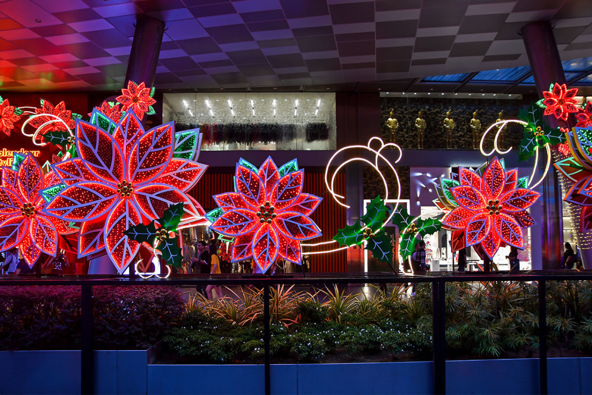Illuminated poinsettias outside the Mandarin Hotel in 2019. The prefect selfie backdrop.