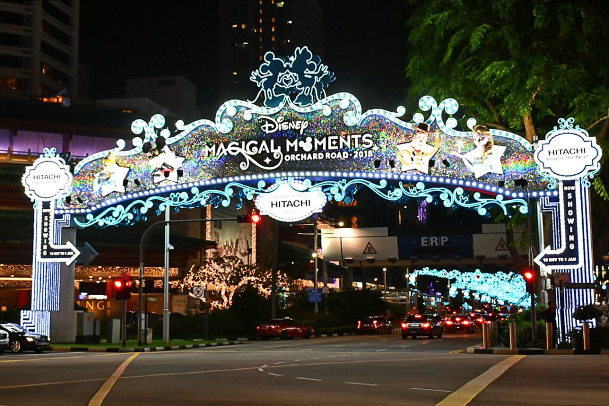 The Disney-themed gateway for Orchard Road Christmas Light-up 2018. 2018 is the first time the light-up is co-branded.
